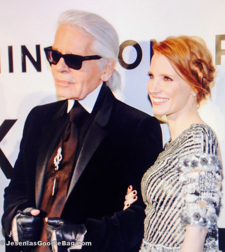 Karl Lagerfeld with Jessica Chastain
