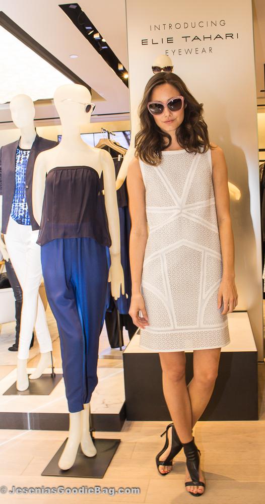 Model wearing Elie Tahari Eyewear and Ready-To-Wear