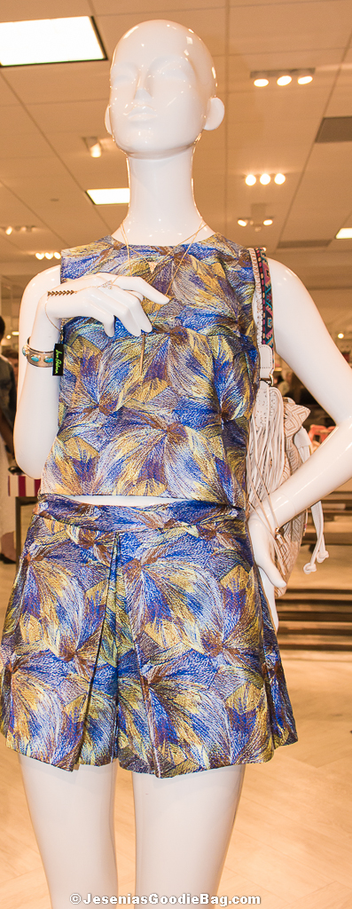 Jacquard Crop Top + Pleated Shorts  (Sam Edelman)