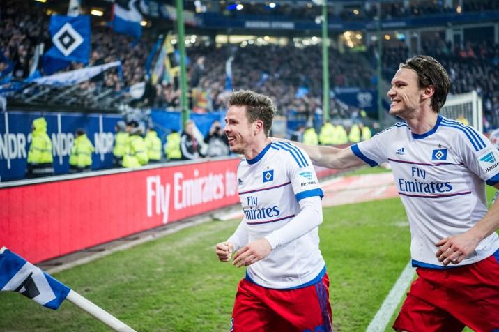 Nicolai Müller and Albin Ekdal celebrates HSV's 1-0 goal against Hertha BSC Berlin in the German Bundesliga.