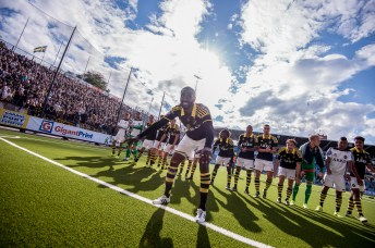 Henok Goitom - AIK, celebrating with the supporters after an away win.