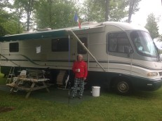 Lloyd shows of his camper