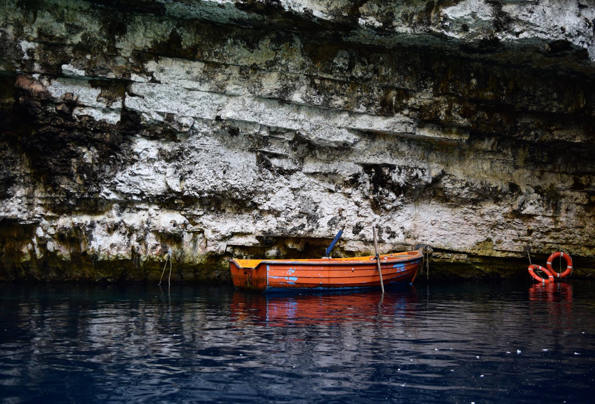 Boat in Mellisani Cave in Kefalonia, Greece