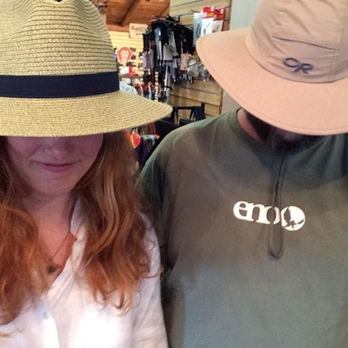Muriel and Turp are getting their hats ready for the Steeplechase next weekend. #sunhats #steeplechase