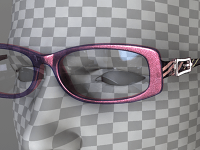 Metallic pink flakes strobing between opacity and transparency set in purple transparent plastic