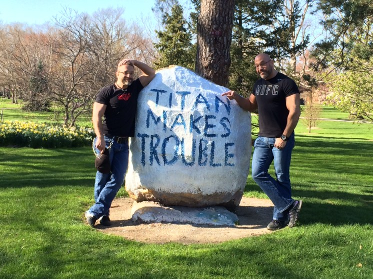 """Titan Makes Trouble"" boulder on Tappan Square"