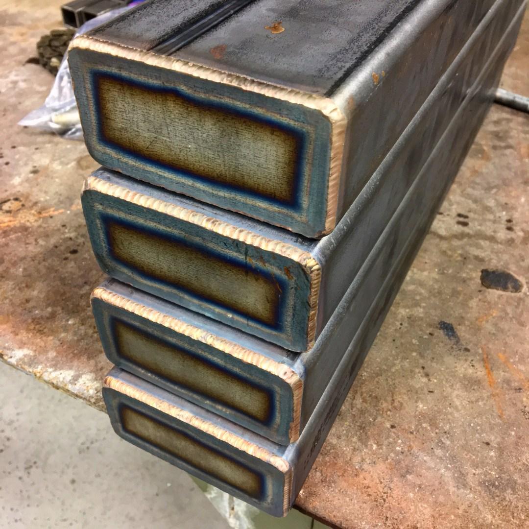 Leg weld consistency detail.
