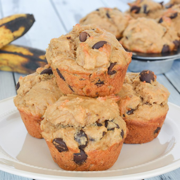 These delicious Chocolate Chip Peanut Butter Banana Muffins are perfectly moist thanks to the banana, and packed full of a favorite flavor combination. Perfect with your morning coffee, or even for dessert!