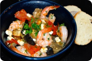 The Secret Recipe Club: Roasted Tomatoes and Eggplant with Shrimp and Feta