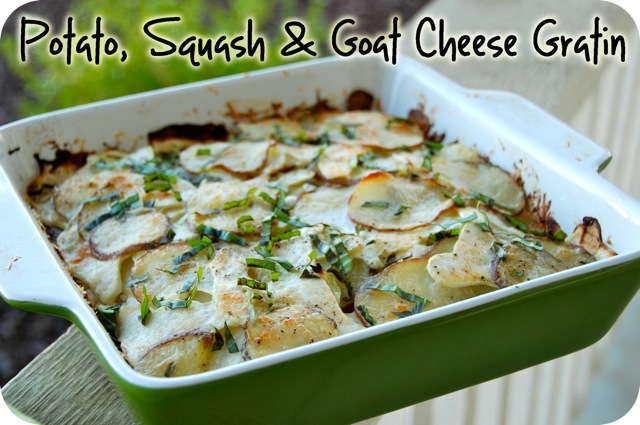 Potato, Squash & Goat Cheese Gratin | Flying on Jess Fuel