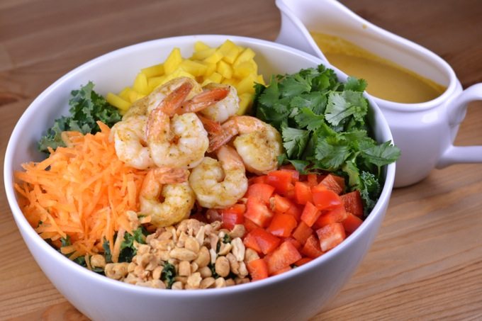 Thai Shrimp Salad with Coconut Curry Dressing