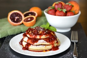 Blood Orange Ricotta Pancakes with Strawberry Orange Sauce