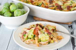This Chicken, Bacon and Brussels Sprout Baked Penne is a cozy, comforting winter meal that's perfect for holiday get-togethers. Packed with whole grain penne, plenty of veggies and chicken, it'll fuel you up for the busy season ahead!