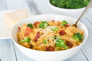 Creamy Butternut Squash Penne with Bacon and Broccoli