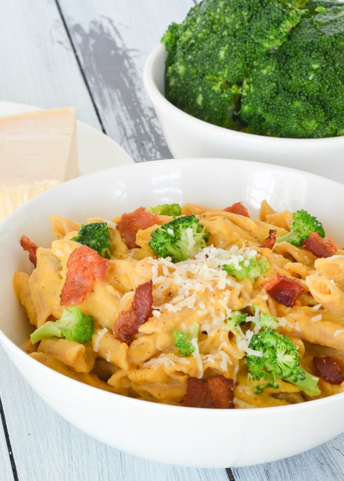 This Creamy Butternut Squash Penne with Bacon and Broccoli is packed full of veggies, and the perfect balance of savory and sweet. It's a perfect fall meal for the whole family!