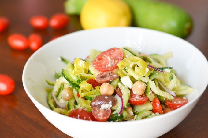 This Greek Zucchini Noodle Salad is a healthy and flavorful way to use some of your summer squash. The lemony dressing pairs perfectly with fresh zucchini!