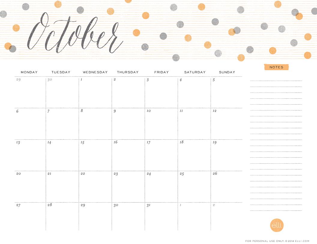 Happy October Free Printable Calendars