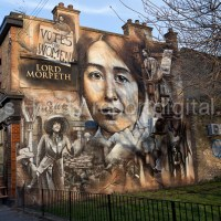Mural commemorating Sylvia Pankhurst and the East London Federation of the Suffragettes by artist  Jerome Davenport on the Lord Morpeth pub in Bow, East London.