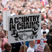 Protest in support of Tommy Robinson, Whitehall, London.