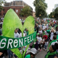 Grenfell Silent march commemorating victims of the Grenfell Tower fire on the first anniversary, Kensington, London.
