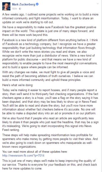 Mark Zuckerberg - nova mesura combatre notis falses