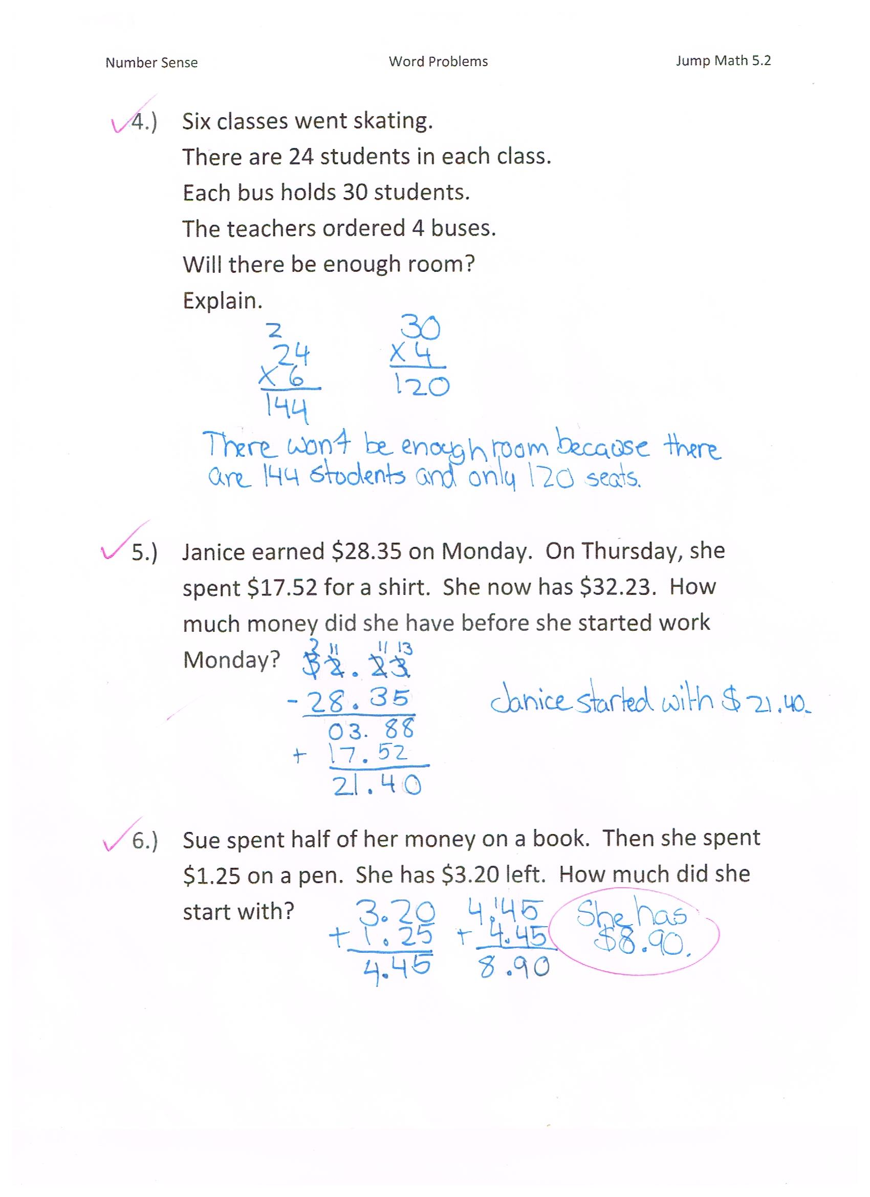 Jump Math 5 2 Number Sense Word Problems Page 252