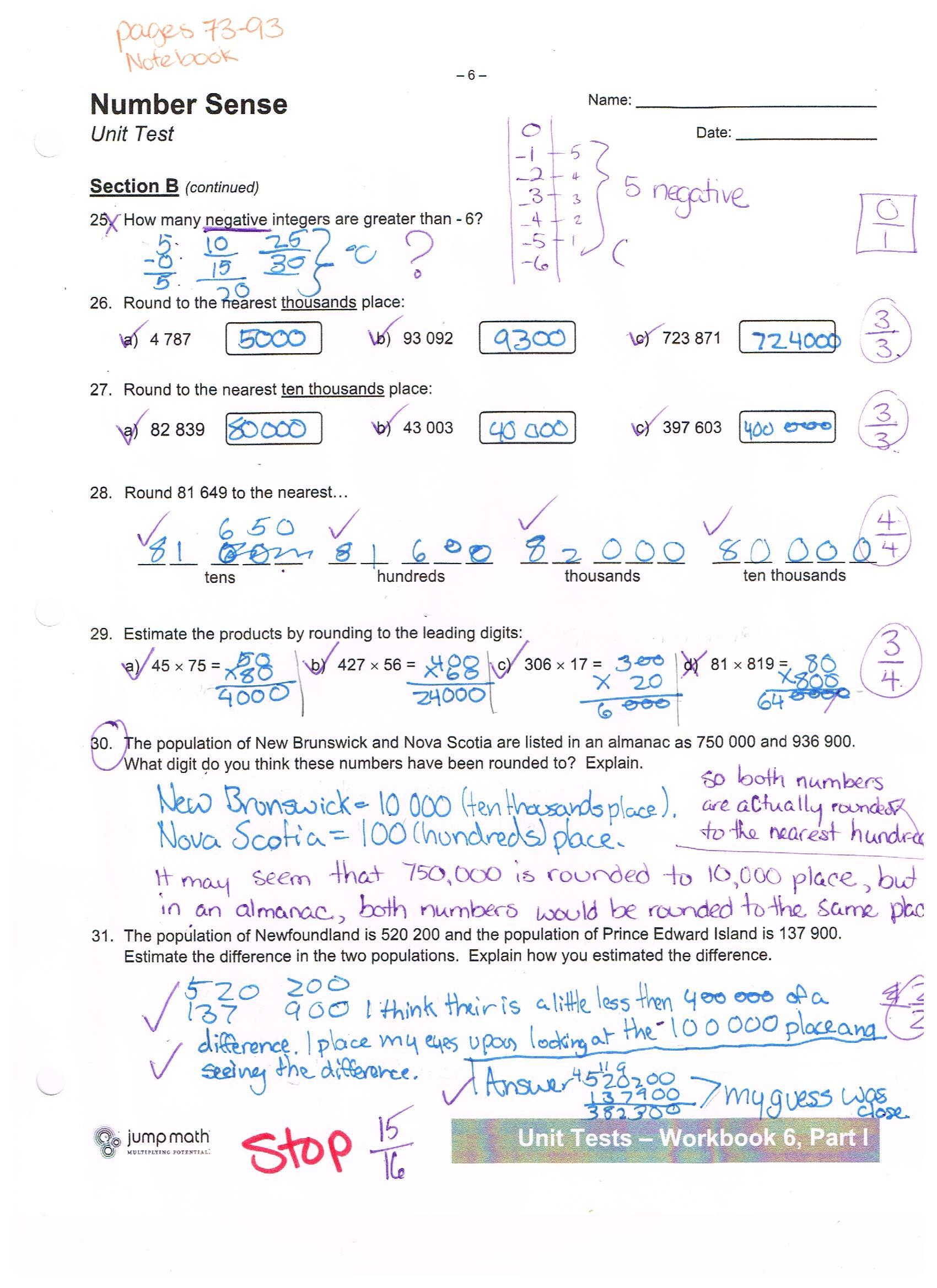 Jump Math 6 1 Number Sense Unit Test