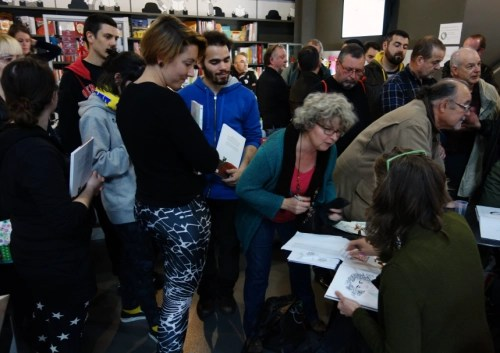 Signing Trish Trash at the Libriarie de la Bande Dessinée