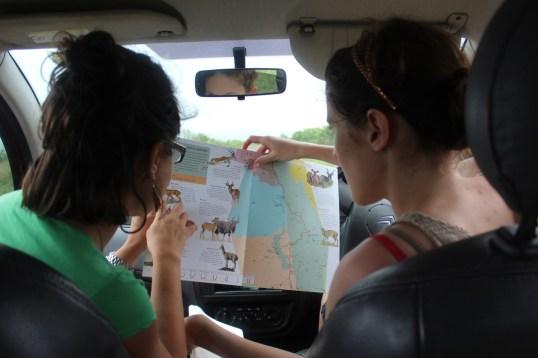 Farnoosh and Clare consult the guide.