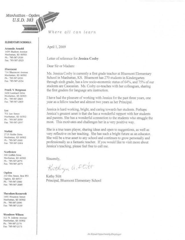 Sample Recommendation Letter For Elementary School Student From
