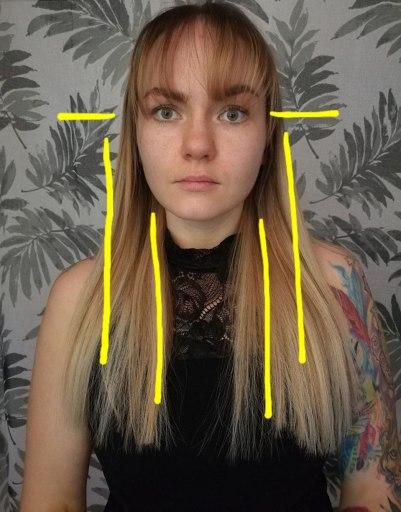 Hiusten balayage värjäys kasvojen mallin mukaan + hiusten hiusrajan korkeuden mukaan