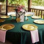 emerald green table, wedding