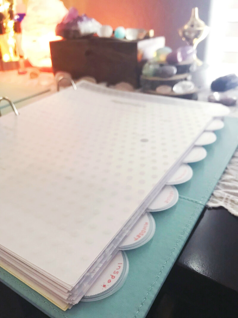 moon self-care binder sheets