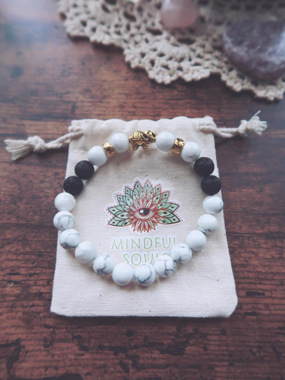 White turquoise and lava stone bracelet