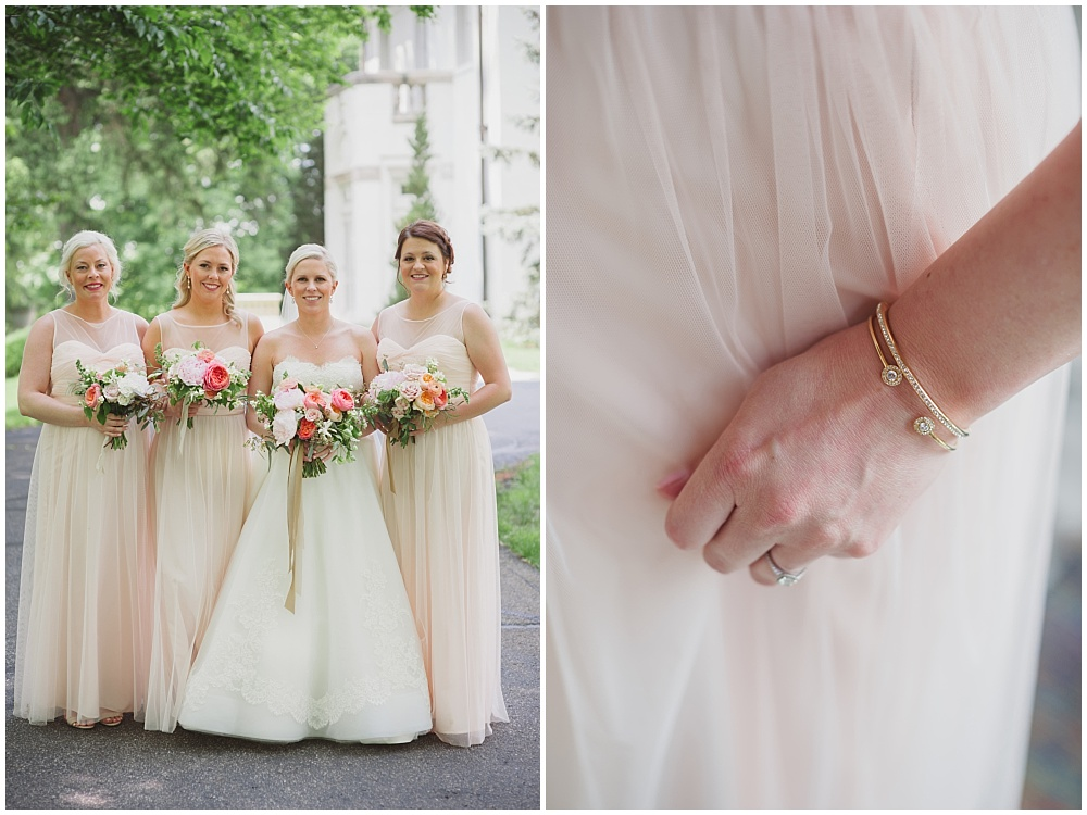 Blush Amsale bridesmaid dresses with blush, pink and green bouquets   Ritz Charles Garden Pavilion Wedding by Stacy Able Photography & Jessica Dum Wedding Coordination