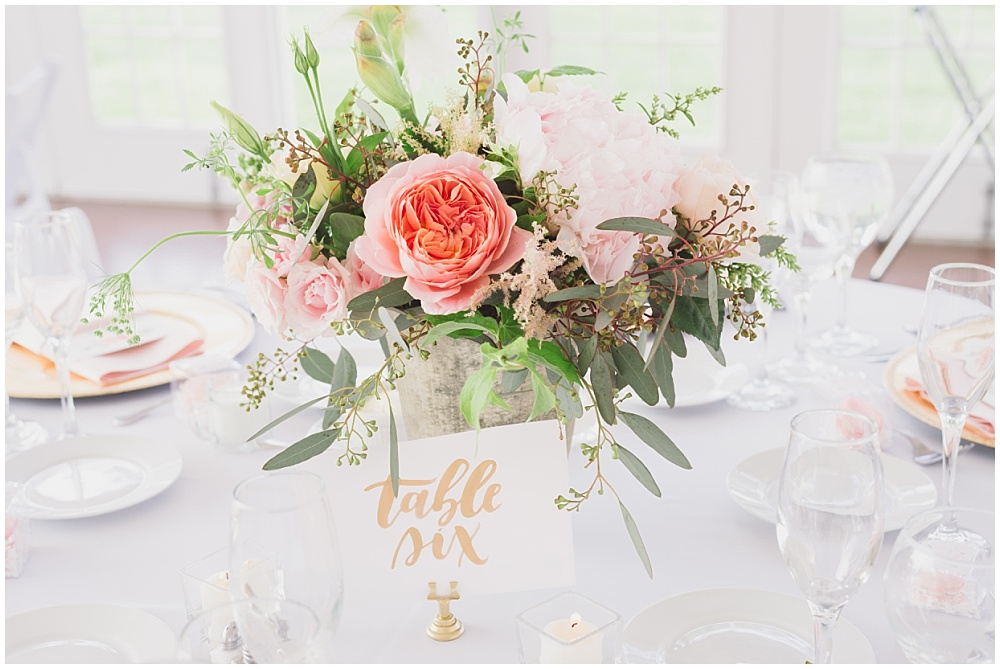 Gold hand lettered table numbers   Ritz Charles Garden Pavilion Wedding by Stacy Able Photography & Jessica Dum Wedding Coordination