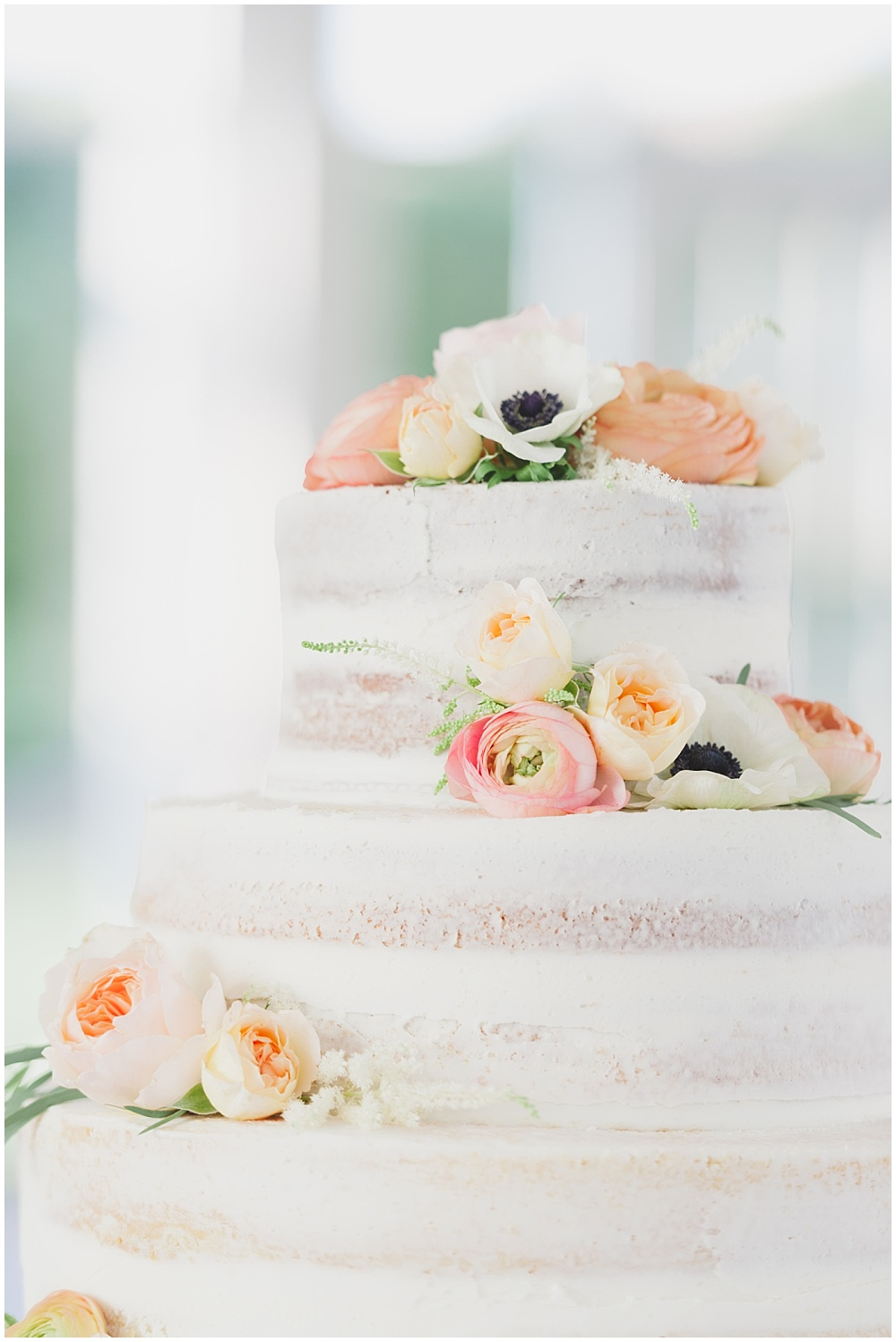 Elegant naked cake with spring flowers   Ritz Charles Garden Pavilion Wedding by Stacy Able Photography & Jessica Dum Wedding Coordination