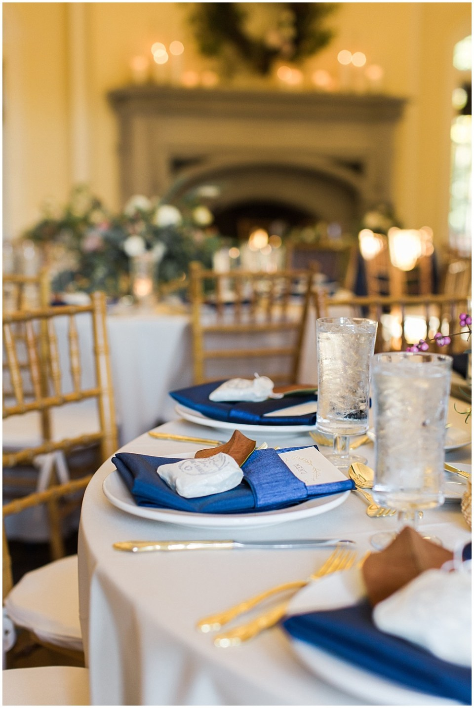 Navy + Gold place setting   Navy and Gold Wedding at Laurel Hall with Ivan & Louise Photography + Jessica Dum Wedding Coordination