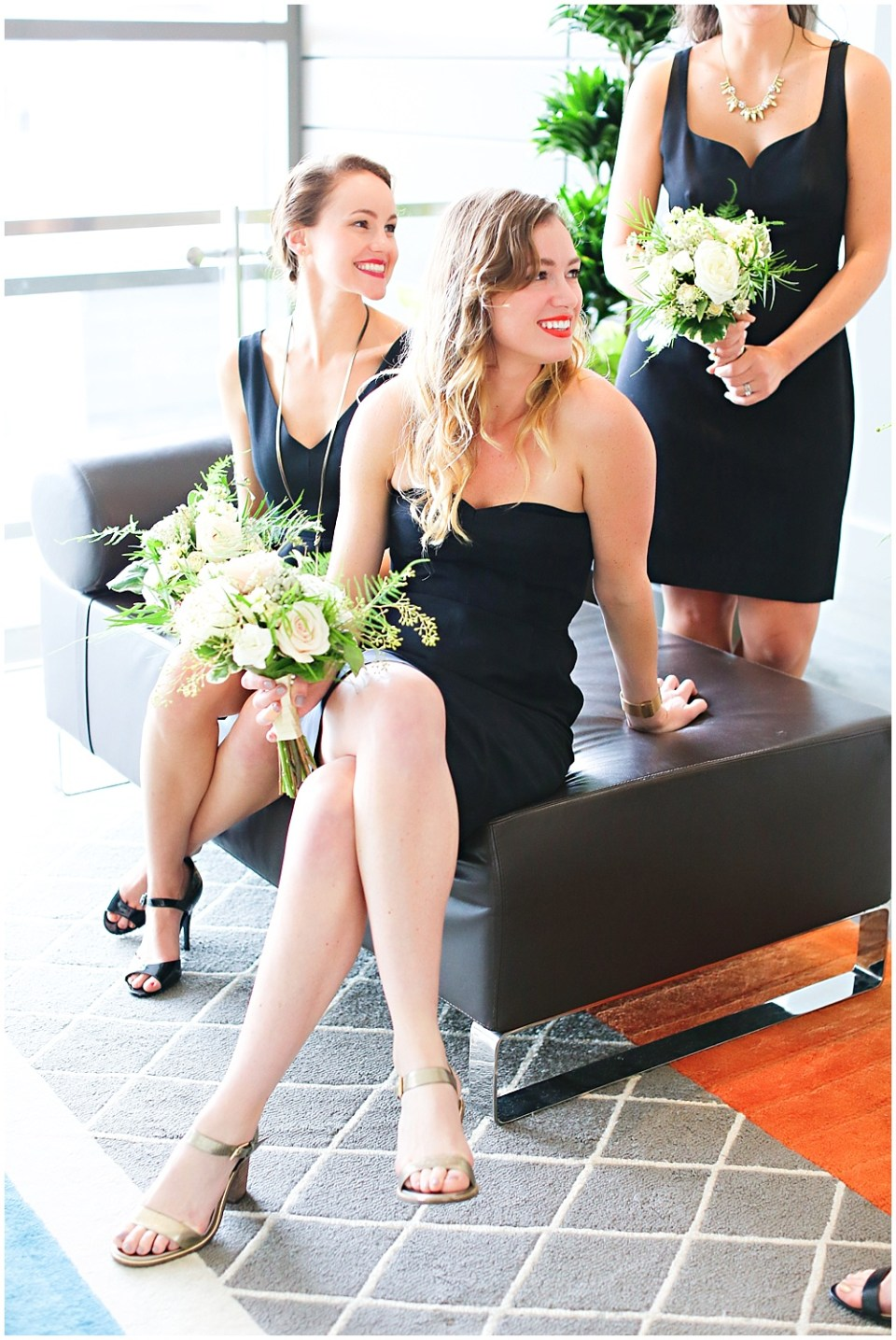 black bridesmaid dresses, the alexander hotel wedding, Morgan + Julian