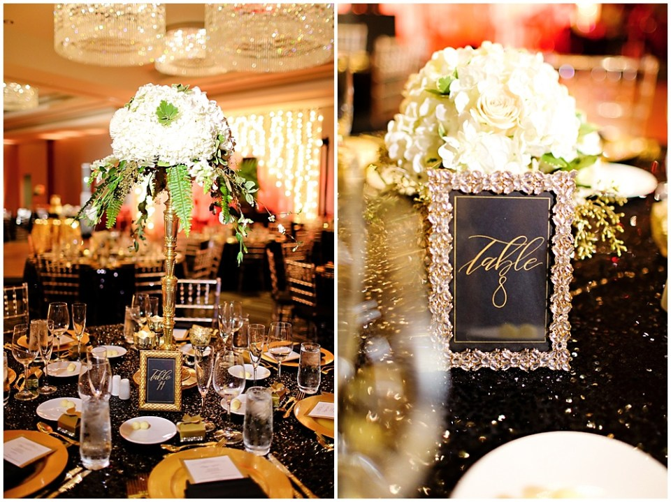 black and gold tablescape, the alexander hotel wedding, Morgan + Julian