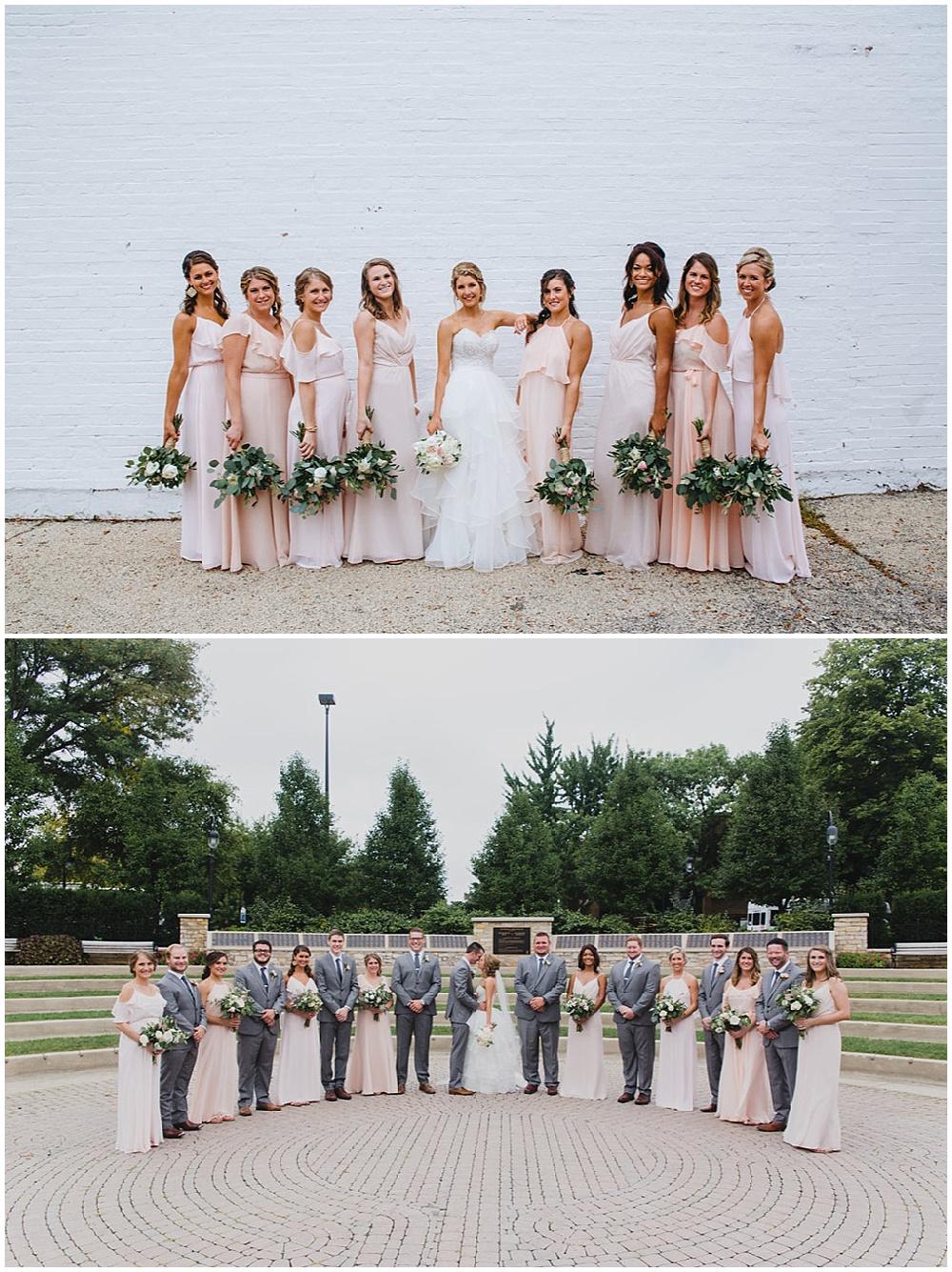 blush and gray bridal party   Chicago urban rustic wedding  Sandra Armenteros Photography   Jessica Dum Wedding Coordination
