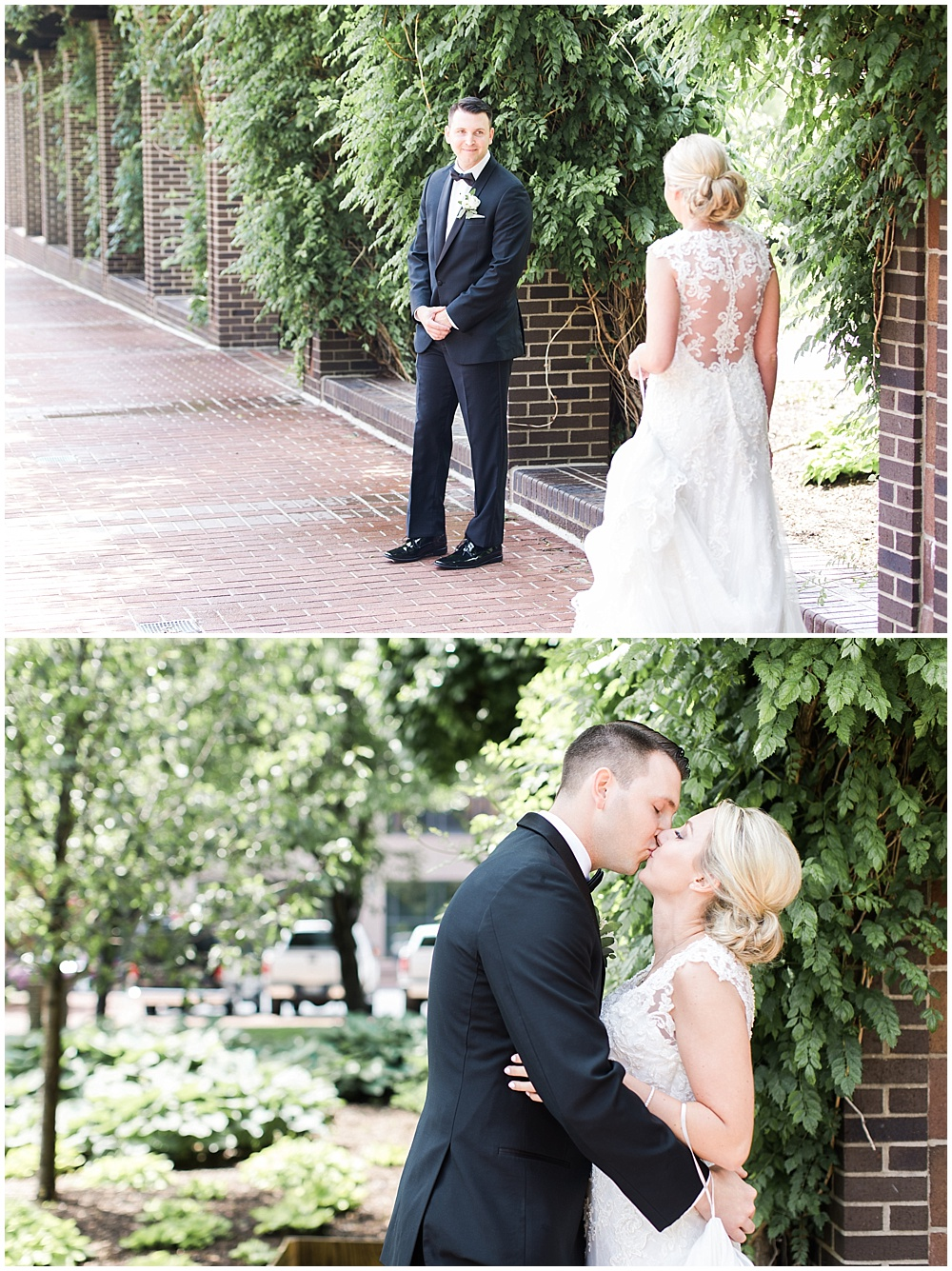first look with bride and groom | floral and greenery wedding| Ivan & Louise Images and Jessica Dum Wedding Coordination