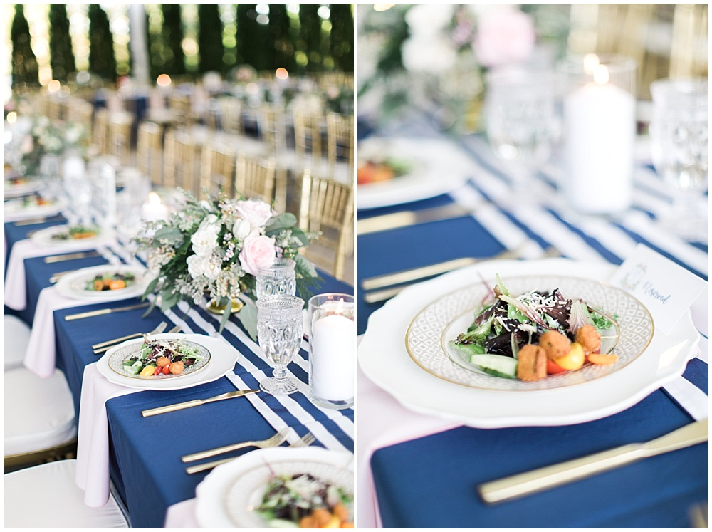 Navy, pink and gold tablescape with striped runner, navy and pink southern wedding   Ivan & Louise Images and Jessica Dum Wedding Coordination