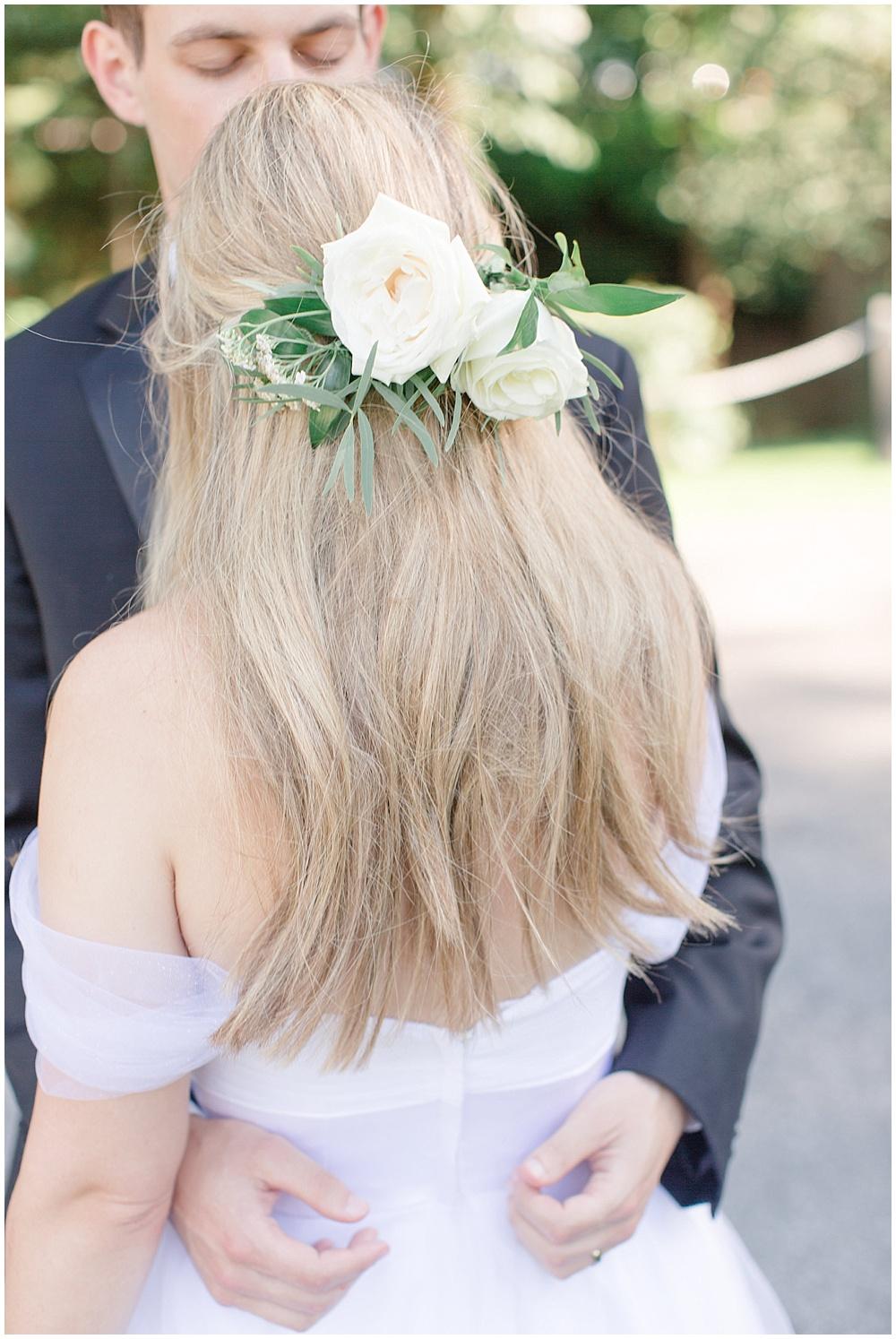bridal hair floral  Sami Renee Photography + Jessica Dum Wedding Coordination