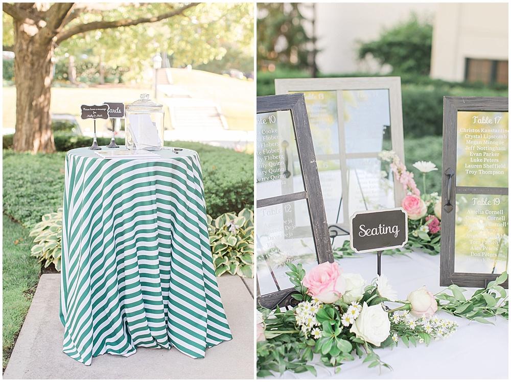 green striped linens; window pane seating chart; woodstock country club wedding   Sami Renee Photography   Jessica Dum Wedding Coordination