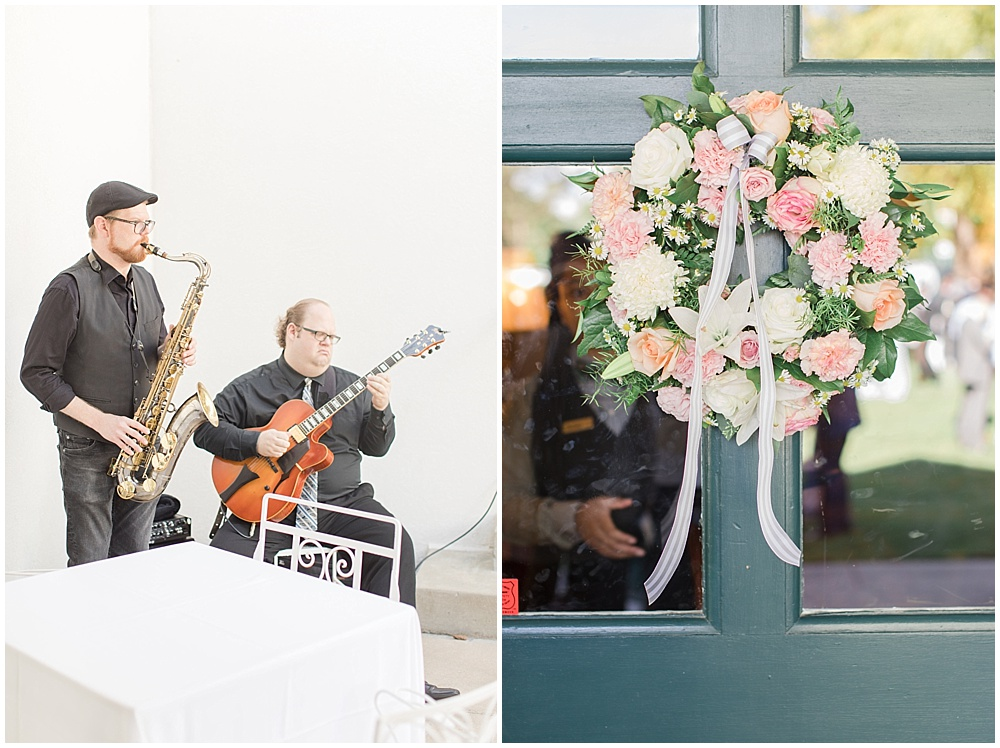 cocktail hour details; floral wreath; woodstock country club wedding  Sami Renee Photography + Jessica Dum Wedding Coordination