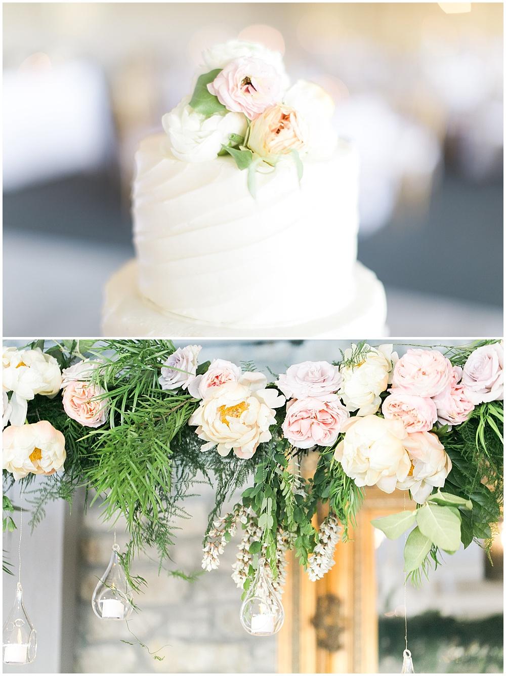 white wedding cake, suspended head table florals, subtle cake flowers, Spring floral + gold wedding | Ivan & Louise Images | Jessica Dum Wedding Coordination
