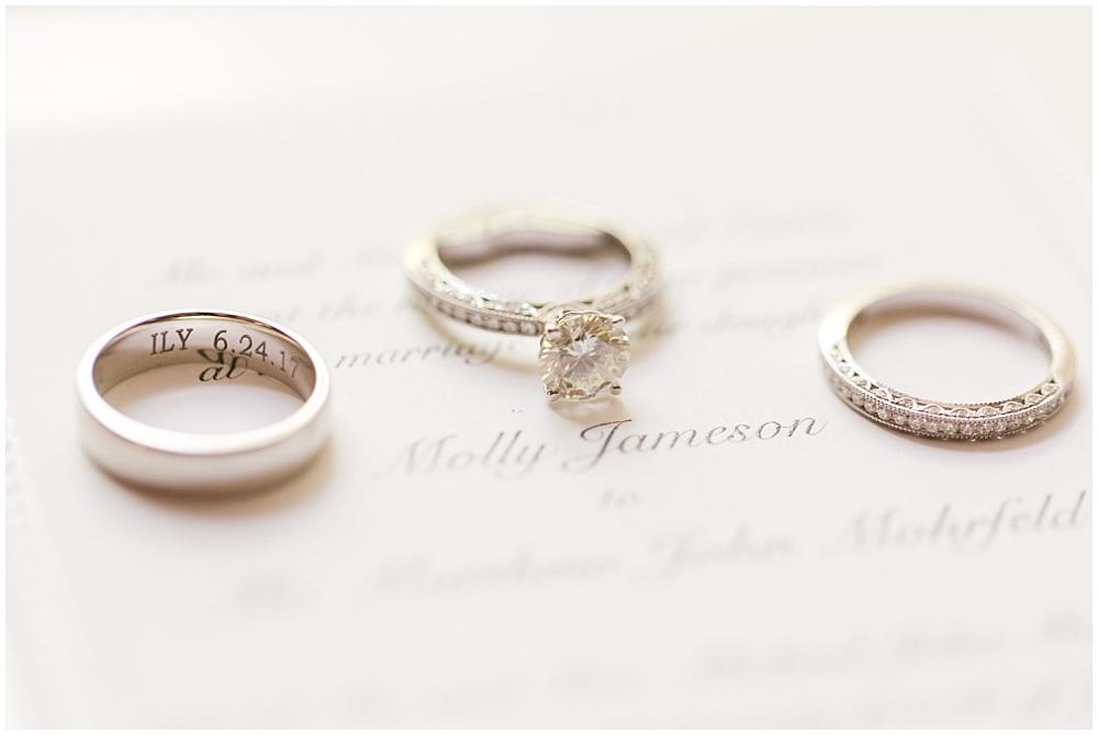 Engraved wedding ring; ring photos on top of wedding invitation   Sami Renee Photography + Jessica Dum Wedding Coordination