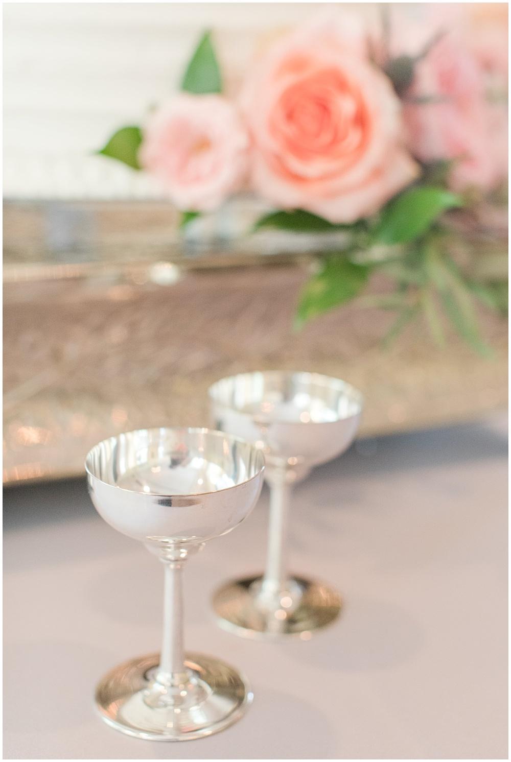 Antique silver champagne flutes   Sami Renee Photography + Jessica Dum Wedding Coordination