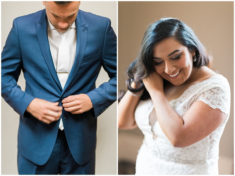 bride and groom; getting ready; Mexican inspired gold & floral wedding; Crowne Plaza Indianapolis Downtown Union Station; neutral floral and greenery wedding|Cory + Jackie and Jessica Dum Wedding Coordination